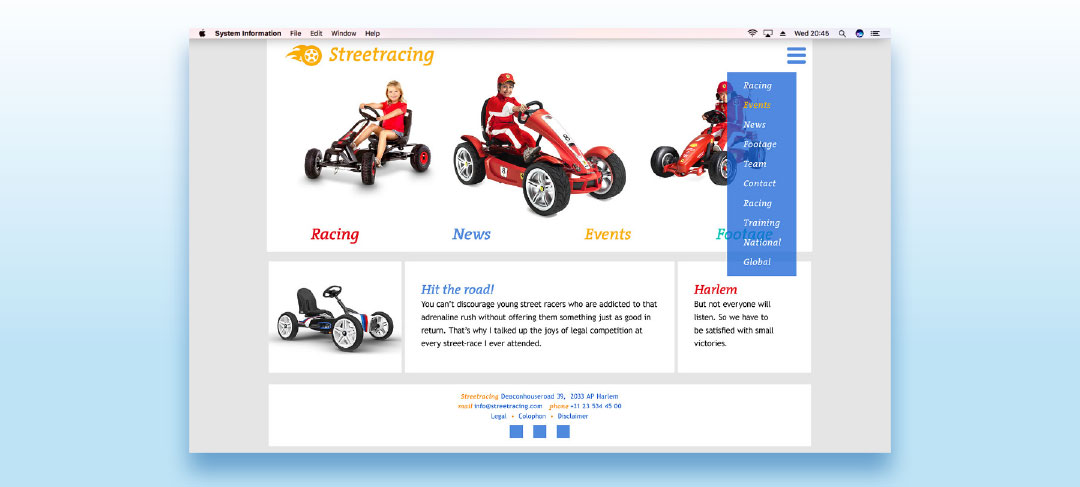 HSTotaal bouwt websites met mooie templates, bijvoorbeeld 'Street'