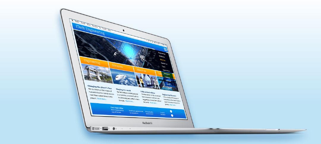 HSTotaal bouwt websites met mooie templates, bijvoorbeeld 'Tech'
