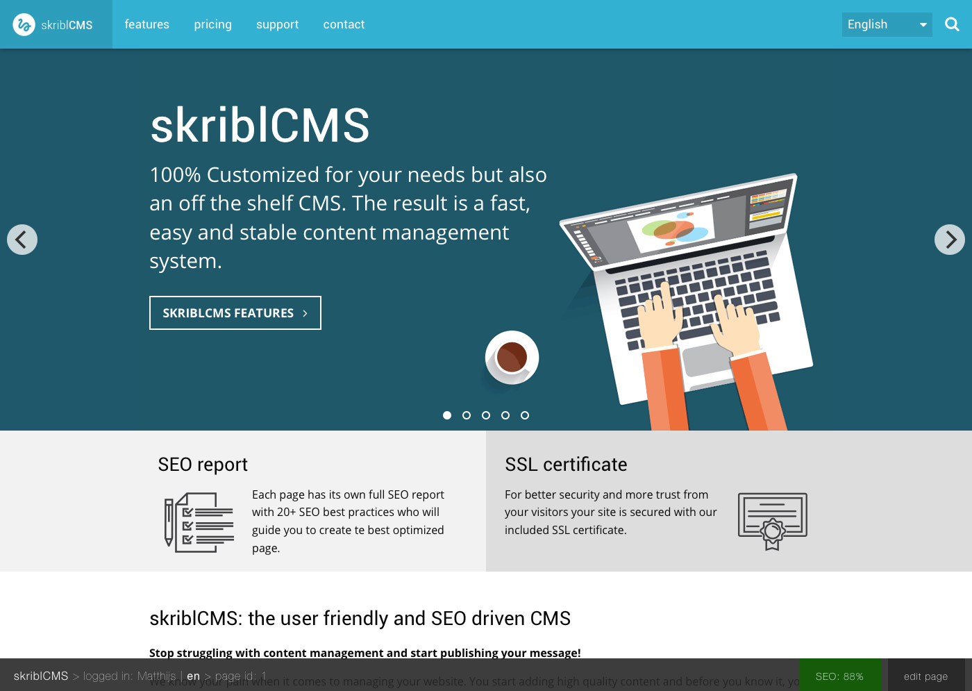 skriblCMS - the admin bar on the bottom of the page for logged in admins