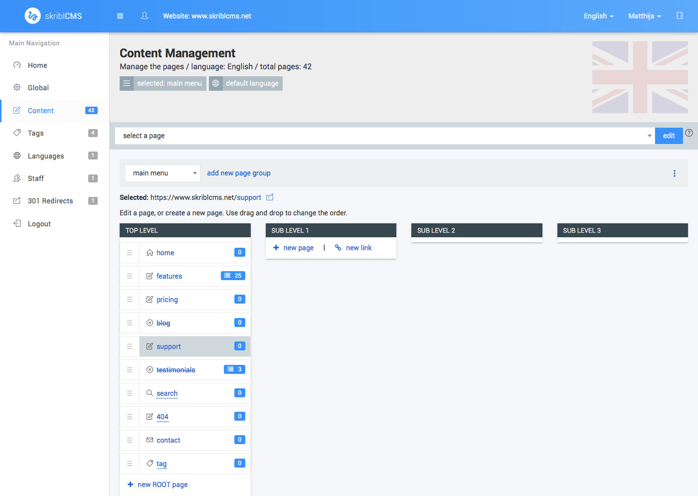 skriblCMS - content management - content presented as the main menu