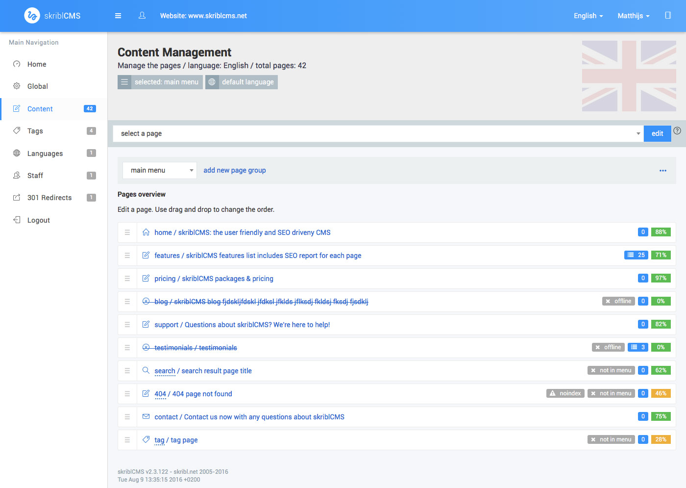 skriblCMS - content management - content presented as full page list using the menu structure with sub pages