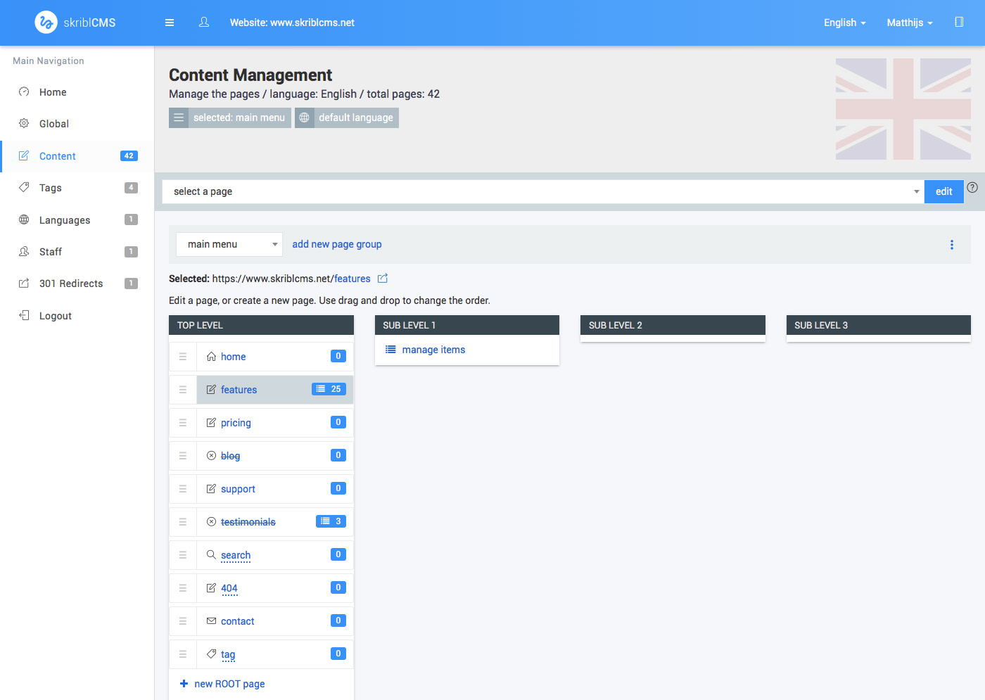 skriblCMS - content management - the features page is a list page where sub pages are presented in their own list.
