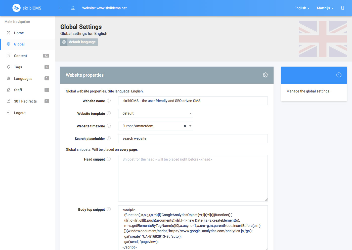 skriblCMS - global settings - manage the global settings and code snippets for all pages