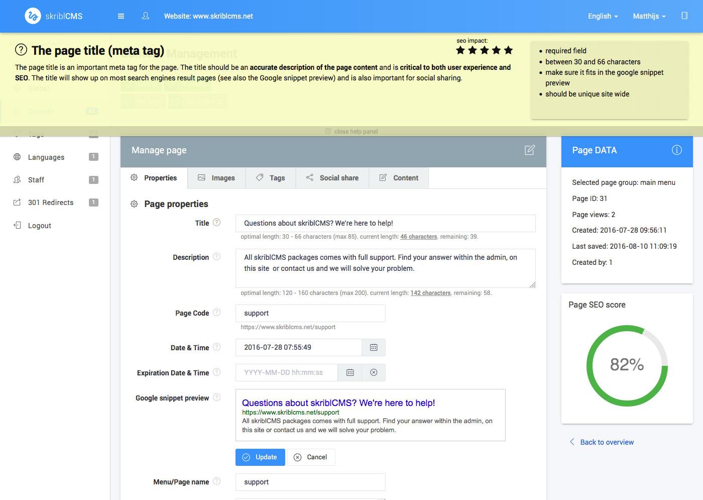 skriblCMS help popup met help tekst en SEO informatie