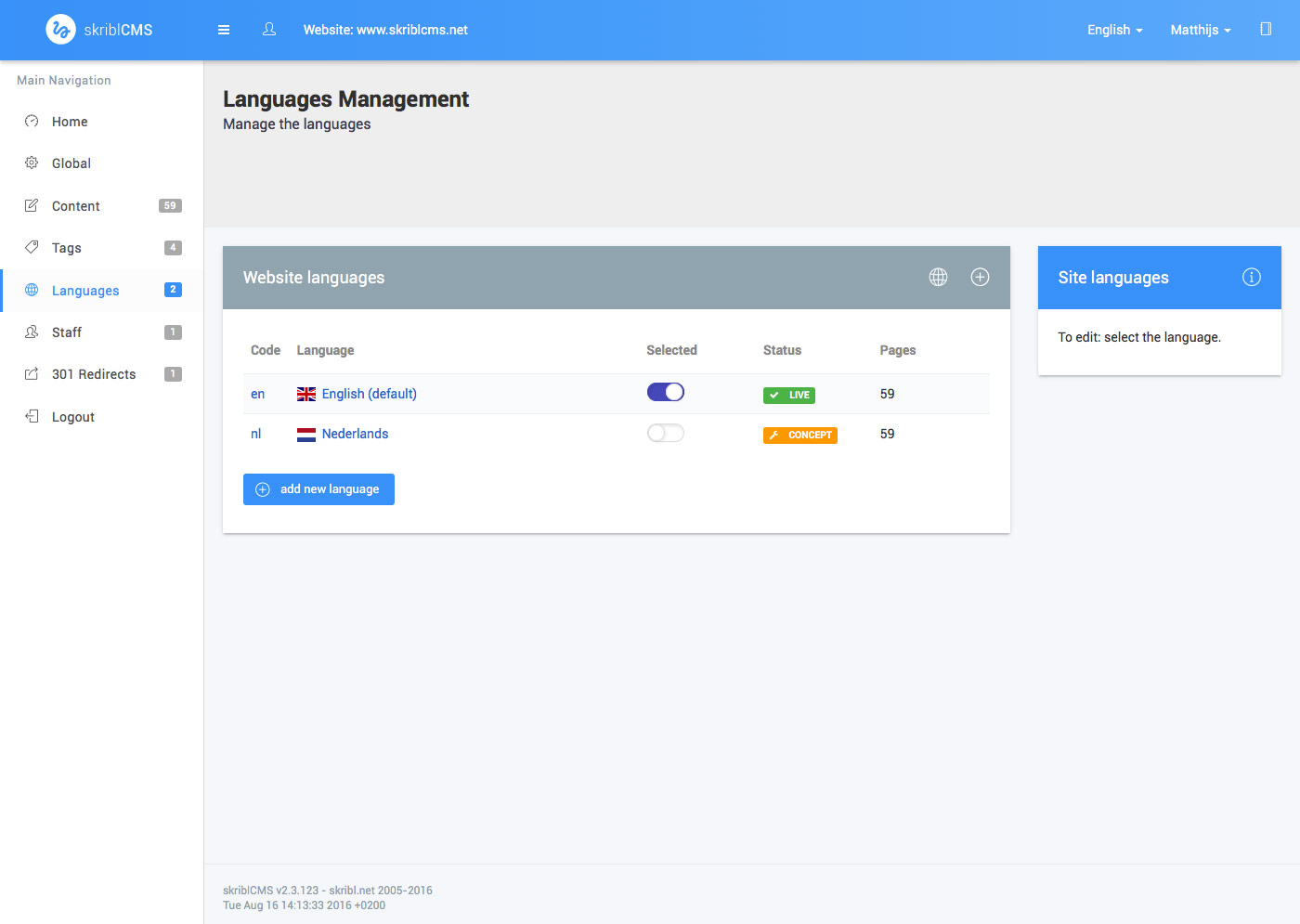 skriblCMS languages - new language added