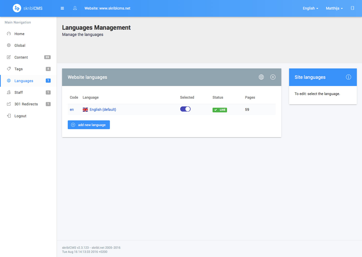 skriblCMS - languages module - languages overview