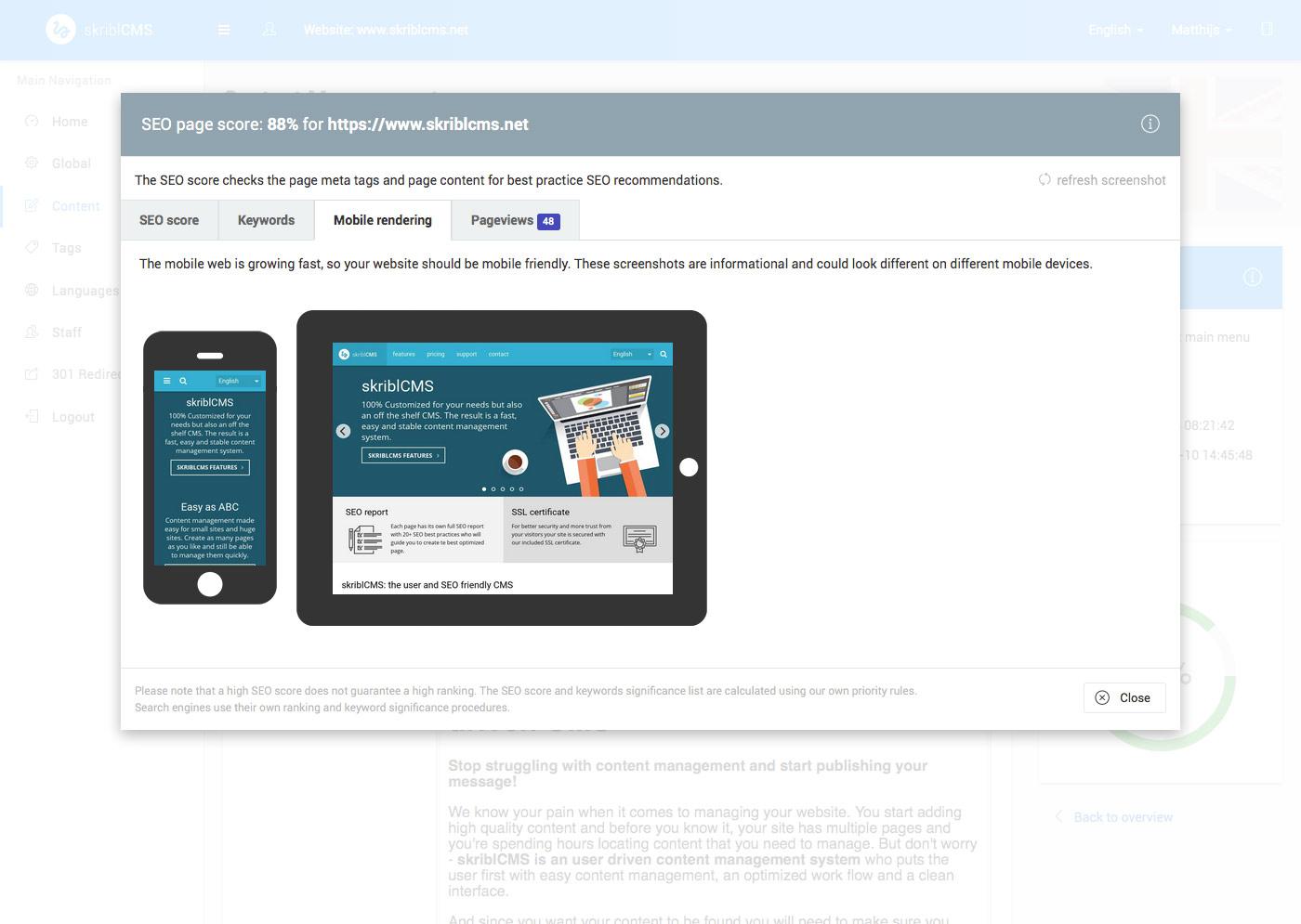 skriblCMS - SEO rapport derde TAB: Mobile rendering preview