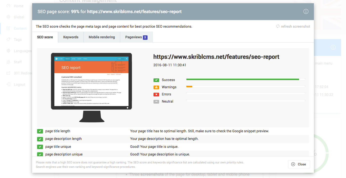 skriblCMS SEO report - issues have been fixed