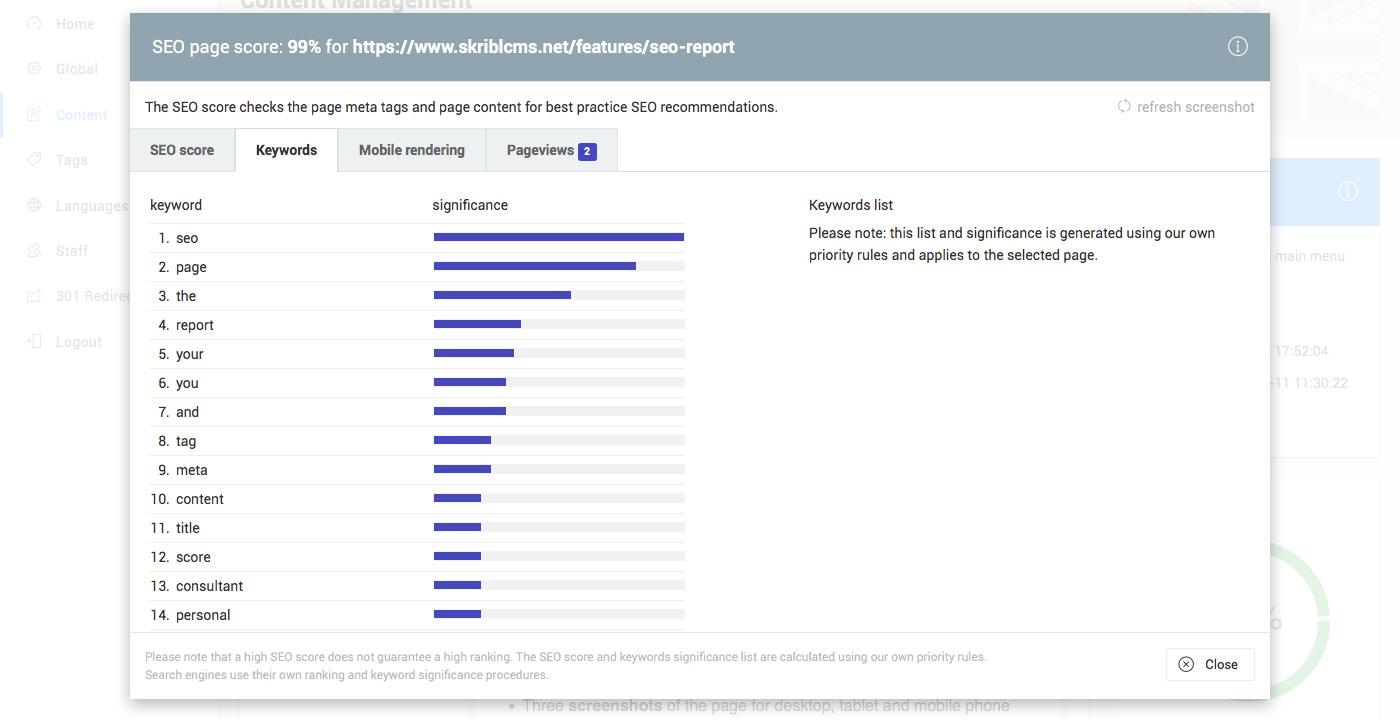skriblCMS - SEO rapport tweede TAB: keyword ljist voor deze pagina op basis van belangrijkheid.