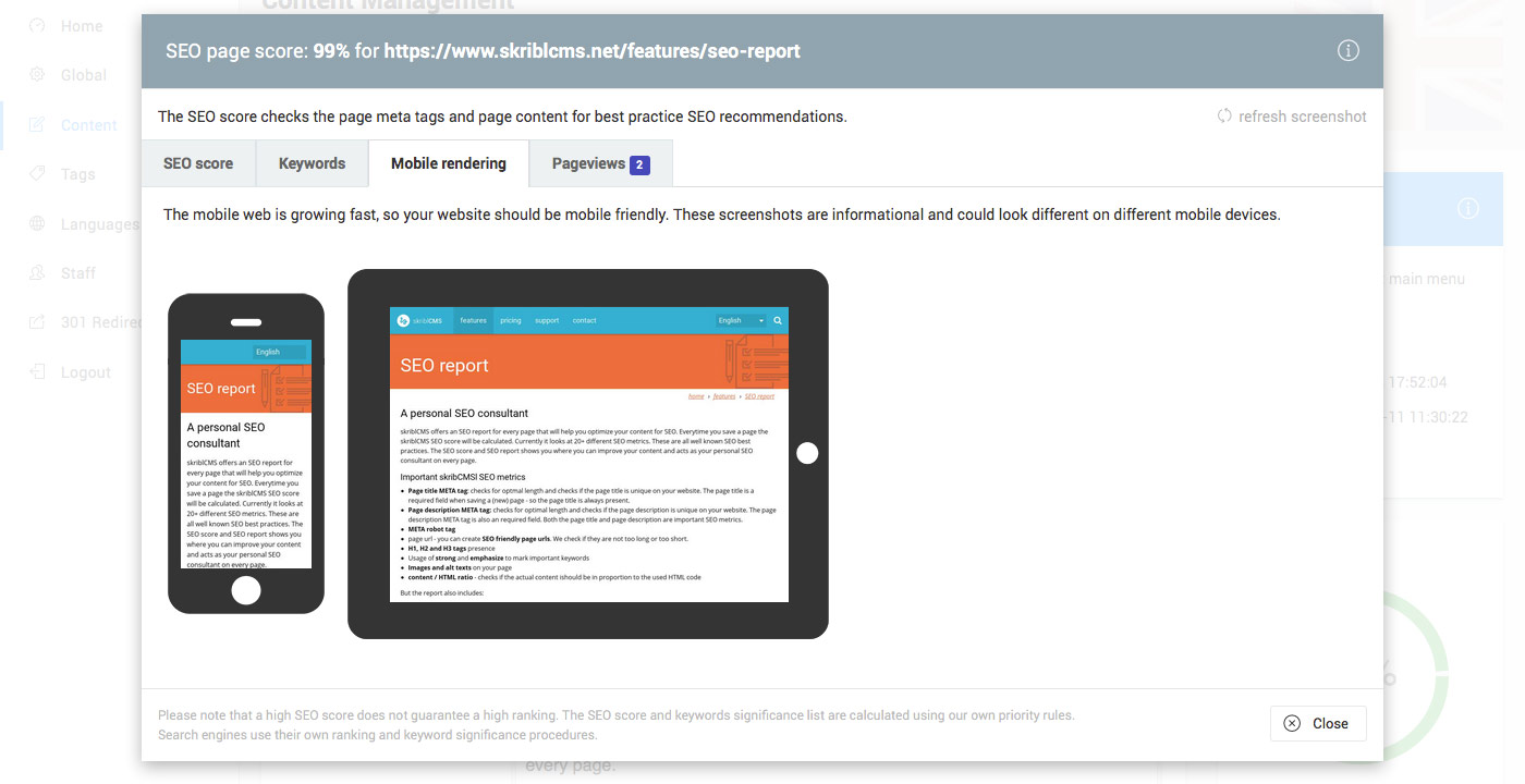 skriblCMS - SEO rapport dderde tab: preview van de pagina op mobile devices: een tablet en een smart phone