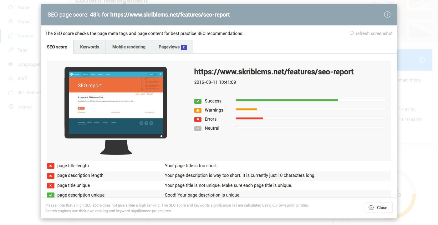 skriblCMS SEO rapport - deze pagina heeft meerdere SEO problemen die aangepast moeten worden.